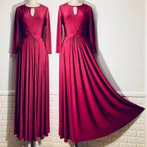 Issa London Berry Red Stretch Knit Maxi Dress